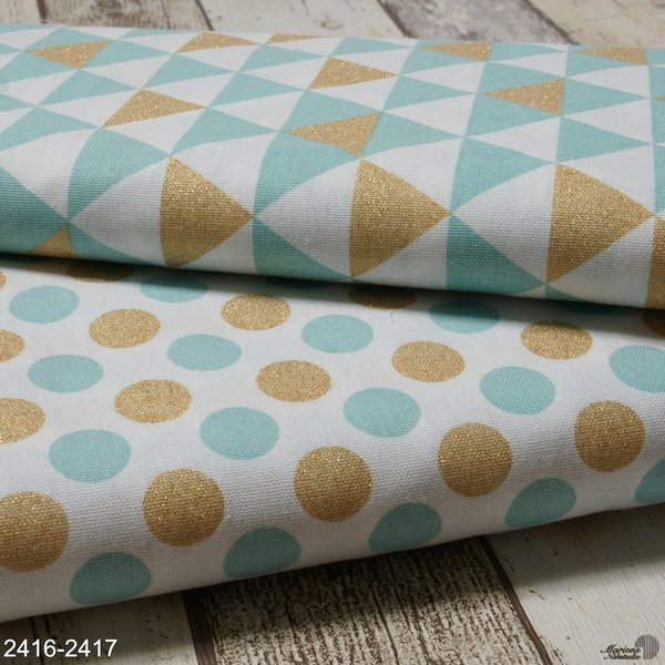 Canvas, mint/ Punkte gold/Glitzer