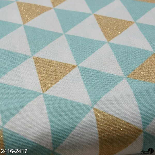 Canvas, mint/ Dreiecke gold/Glitzer